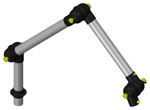 ESD suction arm system DN50 3 joints, 1125 mm, black - table mounting