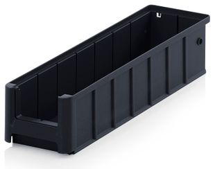 ESD shelf and material flow box, black, 400x117x90 mm