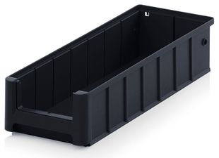 ESD shelf and material flow box, black, 400x156x90 mm