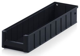 ESD shelf and material flow box, black, 500x156x90 mm