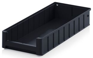 ESD shelf and material flow box, black, 500x234x90 mm