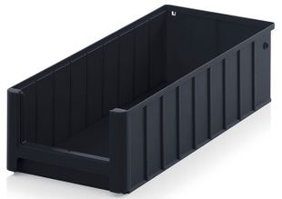 ESD shelf and material flow box, black, 500x234x140 mm