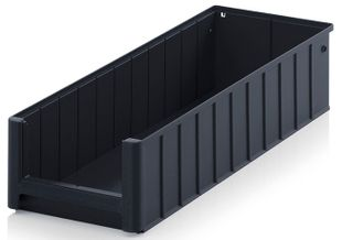 ESD shelf and material flow box, black, 600x234x140 mm
