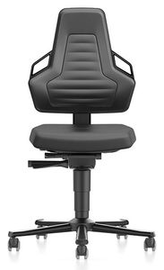 ESD chair NEXXIT 2 with castors, integral foam black with handles