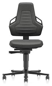 ESD Chair NEXXIT 2 with castors, Duotec black with handles
