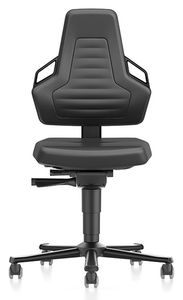 ESD chair NEXXIT 2 with castors, imitation leather black with handles