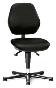 ESD chair BASIC 1 with glider, fabric Duotec black, permanent contact