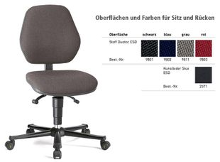 ESD chair BASIC 2 Plus with castors, fabric Duotec grey, backrest 430 mm