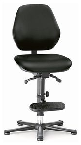 ESD chair BASIC 3, glider, ascent aid, permanent contact, imitation leather black, backrest 430 mm
