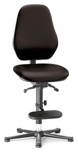 ESD chair BASIC 3, glider, ascent aid, permanent contact, fabric Duotec blue, backrest 430 mm