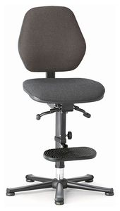 ESD chair BASIC 3, glider, ascent aid, permanent contact, fabric Duotec grey, backrest 430 mm