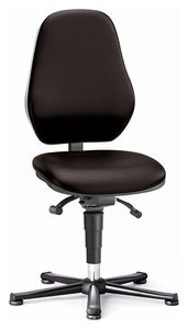 ESD chair BASIC 1 with glider, imitation leather black, permanent contact and seat inclination, backrest 530 mm