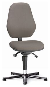 ESD chair BASIC 1 with glider, fabric Duotec black, permanent contact and seat inclination, backrest 530 mm