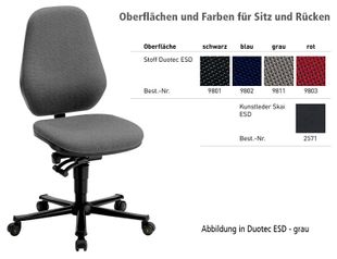 ESD chair BASIC 2 Plus with castors, imitation leather black, permanent contact and seat inclination, backrest 530 mm
