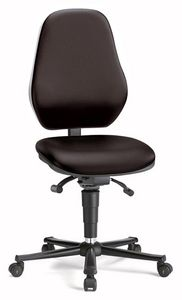 ESD chair BASIC 2 Plus with castors, fabric Duotec black, permanent contact and seat inclination, seat-stop castors, backrest 530 mm