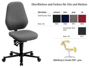ESD chair BASIC 2 with castors, fabric Duotec blue, permanent contact and seat inclination, backrest 530 mm