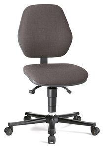 ESD chair BASIC 2 Plus with castors, fabric Duotec grey, permanent contact and seat inclination, backrest 530 mm