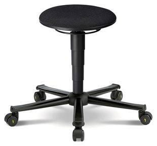 ESD stool 2 with castors, fabric Duotec black