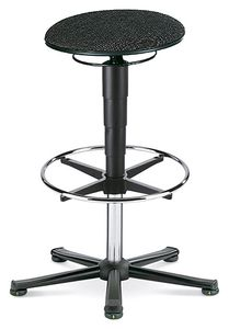 ESD stool 3 with glider and foot ring, fabric Duotec black