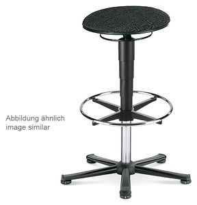ESD stool 3 with glider and foot ring, fabric Duotec blue