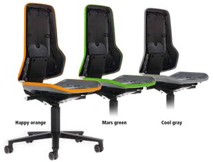 Neon 2 work chair with castors Flexband grey, permanent contact