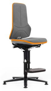 Work chair Neon 3, with glider and ascent aid, Flexband orange, Synchrontechnik - with Supertec upholstery