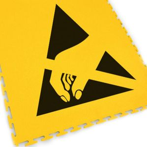 Floor marking tile with ESD logo, yellow, 500 x 500 x 5 mm