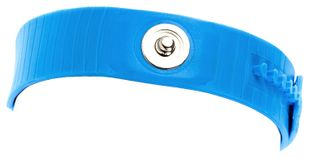 ESD bracelet, plastic, light blue, 3 mm snap fastener