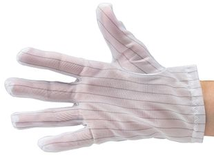 ESD glove polyester, lint-free, cleanroom compatible, white, without coating, S