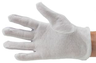 ESD glove polyester, with PVC knobs, cleanroom compatible, white, M