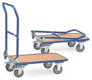 Folding trolley, 1 floor, push handle folding, 250 kg, 900 x 600 mm