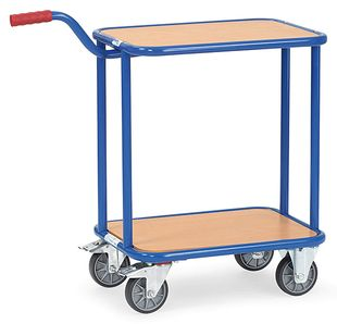 Handle roller, 2 wooden shelves, 250 kg, 600 x 450 mm