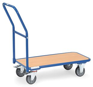 Magazine trolley, 1 wooden shelf, 250 kg, 1000 x 600 mm