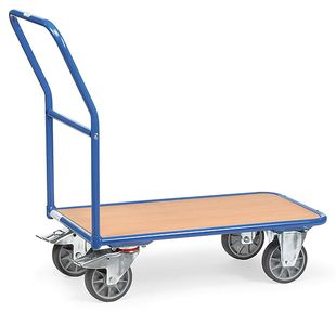 Magazine trolley, 1 wooden shelf, 400 kg, 850 x 500 mm