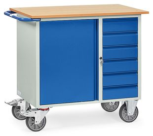 Workshop trolley, 1 cupboard and 6 drawers, 400 kg, 985 x 590 mm