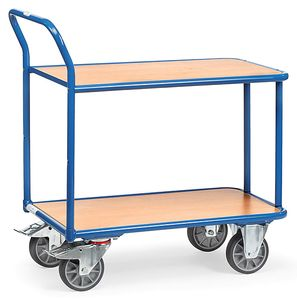 Table trolley, 2 wooden shelves, 400 kg, 1000 x 700 mm