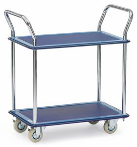 All-steel trolley, 2 shelves, 120 kg, 740 x 480 mm