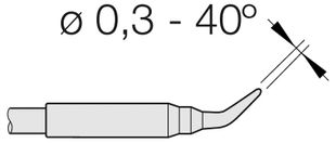 Soldering tip conically curved, D: 0.3 mm