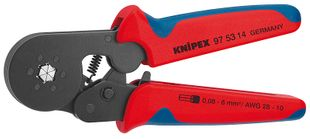 Self-adjusting crimping pliers, for wire end ferrules with side entry