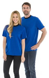 ESD T-Shirt round neck royal blue, with black collar, 150g/m², L