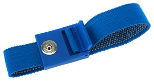 ESD wrist strap light blue, 3 mm snap fastener, toothed clasp