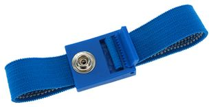 ESD wrist strap light blue, 7 mm snap fastener, toothed clasp