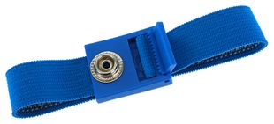 ESD wrist strap light blue, 10 mm snap fastener, toothed clasp