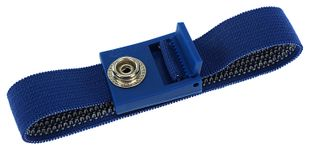 ESD bracelet dark blue, 10 mm snap fastener, toothed clasp