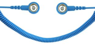 ESD spiral cable, 1 Mohm, light blue, 1,8 m, 10/10 mm push button