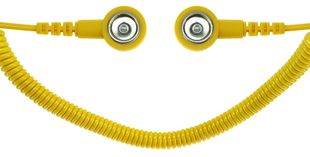 ESD spiral cable, 1 Mohm, yellow, 1,8 m, 10/10 mm push button