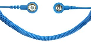 ESD spiral cable, 1 Mohm, light blue, 2,4 m, 3/10 mm push button