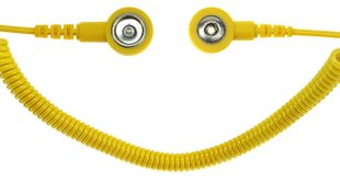 ESD spiral cable, 1 Mohm, yellow, 2,4 m, 3/10 mm push button