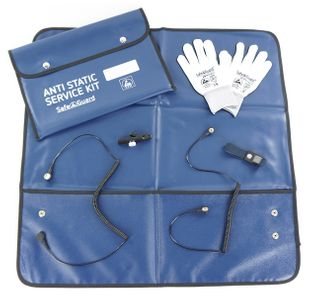 ESD Service Kit SWISS, Gloves, isolated Crocodile Clip, blue