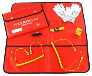 ESD Service Kit SWISS, Gloves, isolated Crocodile Clip, red